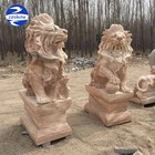 Antique Red Hand Carved Marble Lion Sculptures & Stone Statue