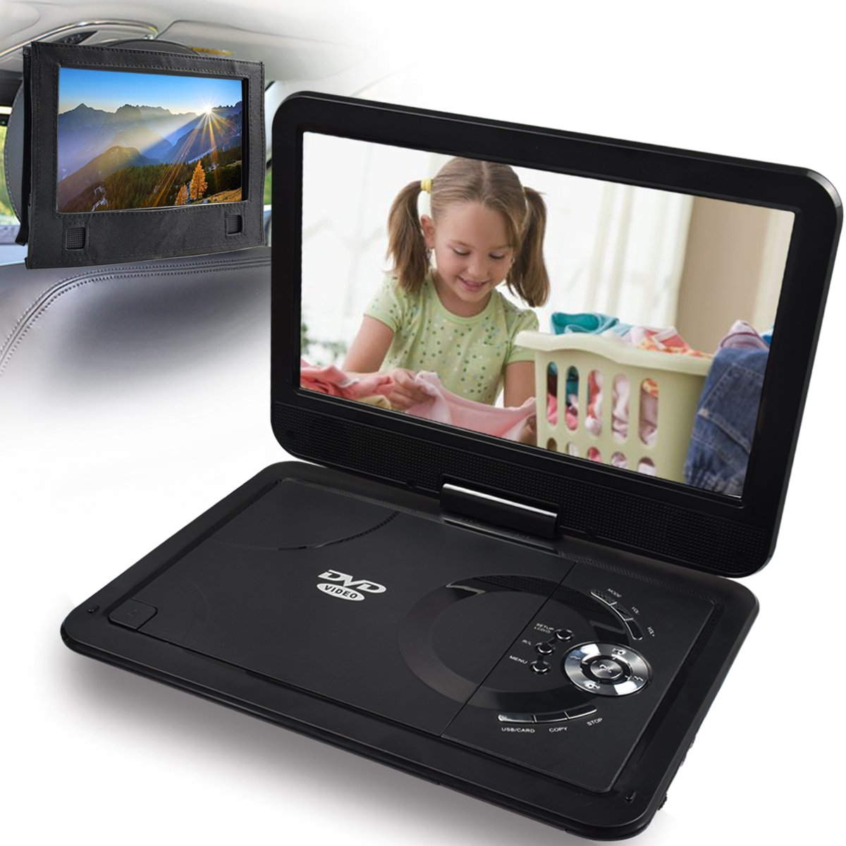"Get Quotations · Portable DVD Player Rechargeable Battery 10.1"" Ultra Thin  NOAUKA Digital LCD Mobile Headrest DVD CD"