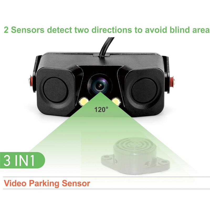Universal two ultrasonic Sensors and one camera car integrated video parking sensor