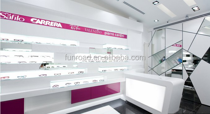 Modern Optical Store Design with Sunglass Display Stand and Acrylic Sunglass Showcase