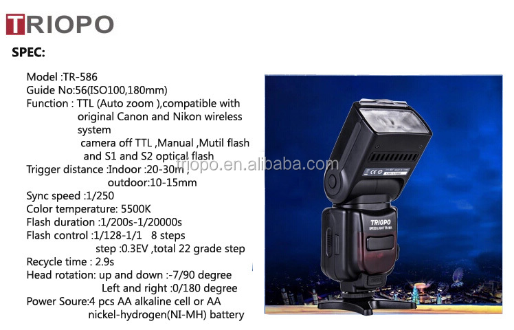 TRIOPO TR-586 dslr camera TTL speedlight for All Nikon and Canon