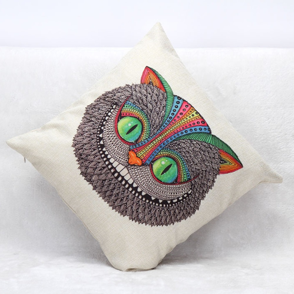 1 PCS Vivid Owl Print Cushion 45*45cm/17.7*17.7' Square Chair Cushion Luxury Cushions Home Decor