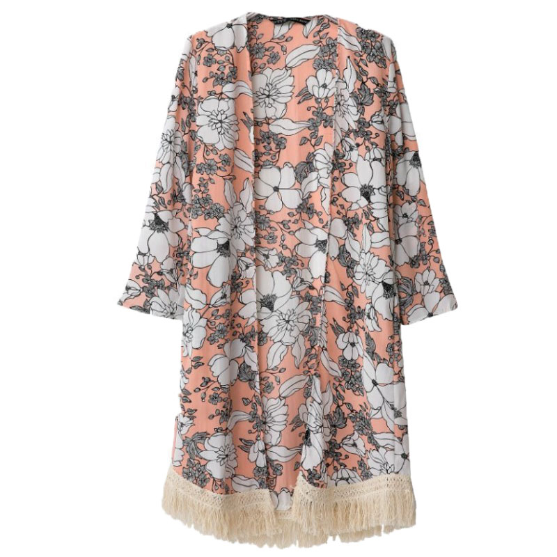 4931f56005a Women Blouses Floral Kimono Cardigan Fringe Long Kimono Chiffon Blouse  Camisas Femininas Vintage Blusas Women Shirts And Blouses