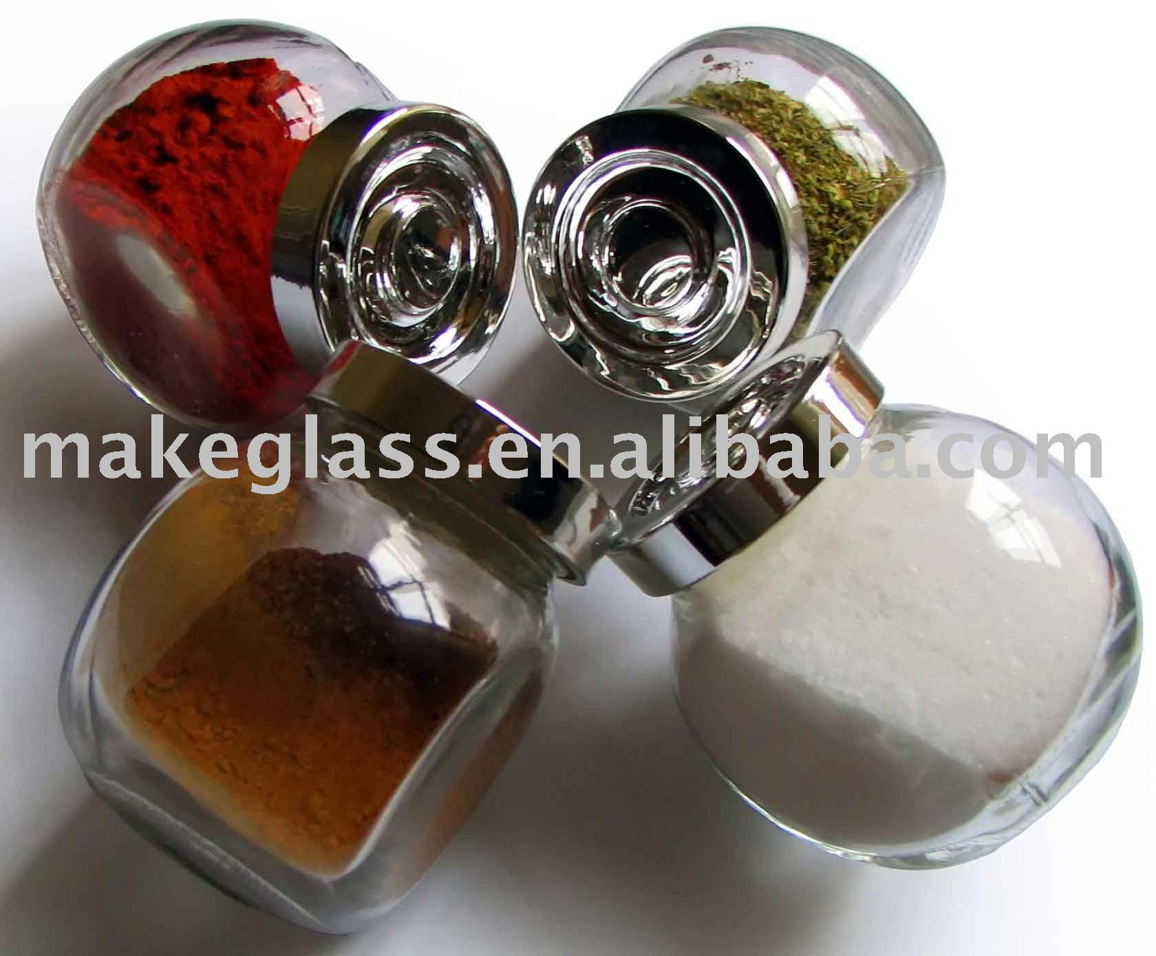 mini glass spice bottle with iron stand/glassware