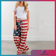 Wholesale Women American Flag Wide Leg Trousers With Drawstring