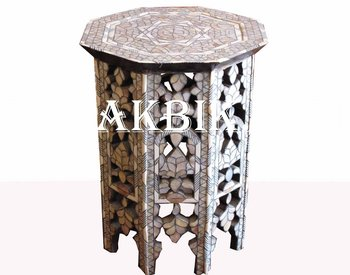 Octagon Side Table Inlaid With Mother Of Pearl.