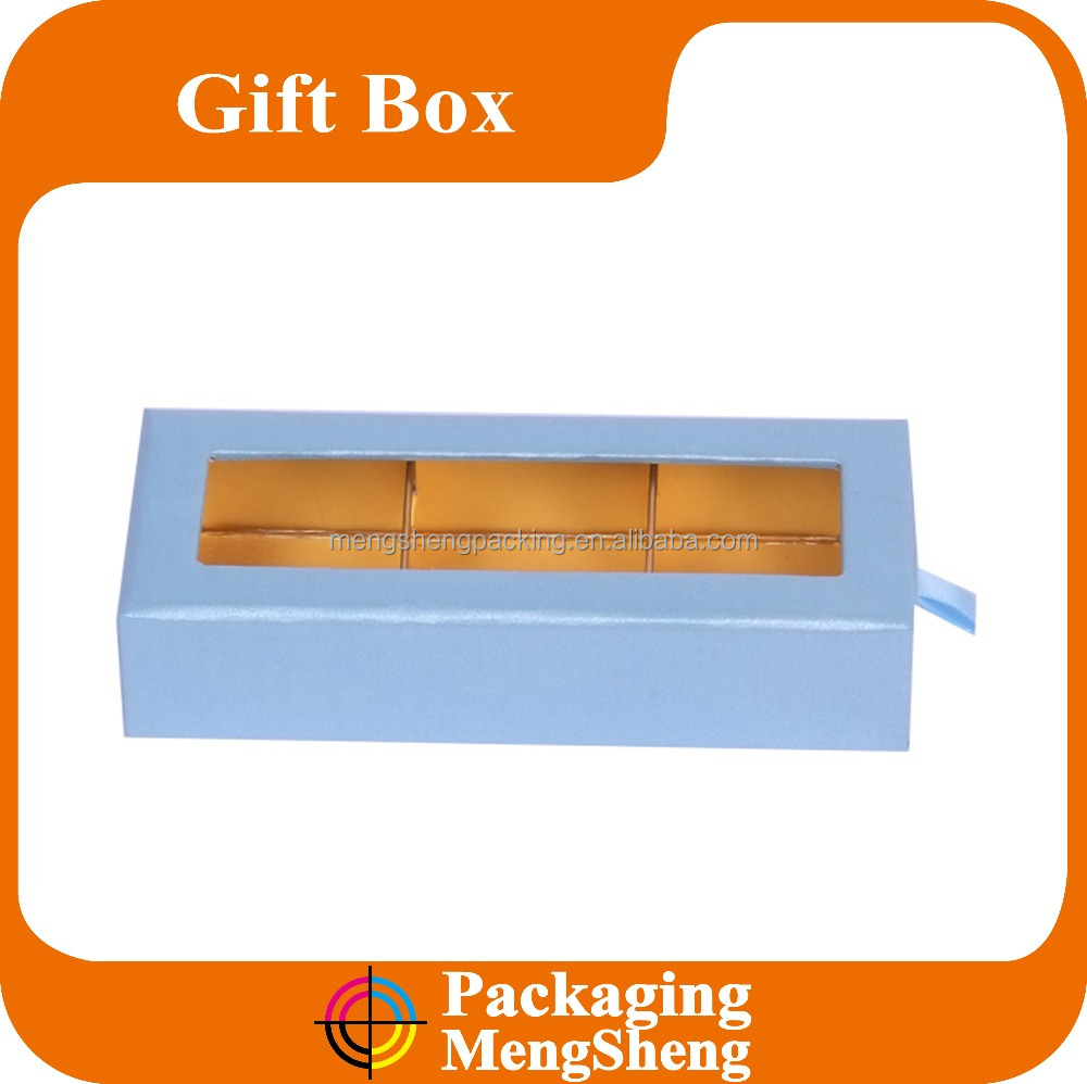 wholesale custom design luxury package box with PVC window and drawer