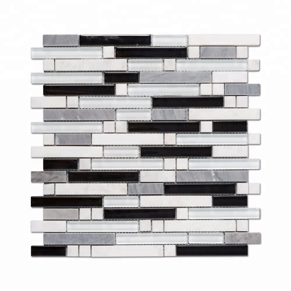 Popular Design White And Black Glass Blend Stone Mosaic