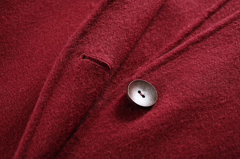 Red Pure 100% Wool Cashmere Coat with Sable Fur Collar