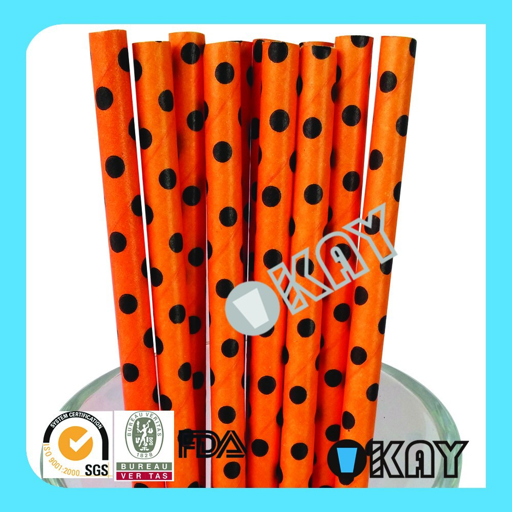 <strong>Orange</strong> with Black DOT Halloween Paper Straws