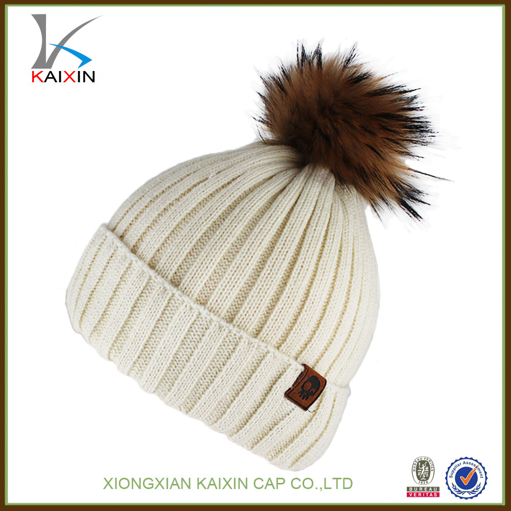 Wholesale Newest real fur pom beanie hat