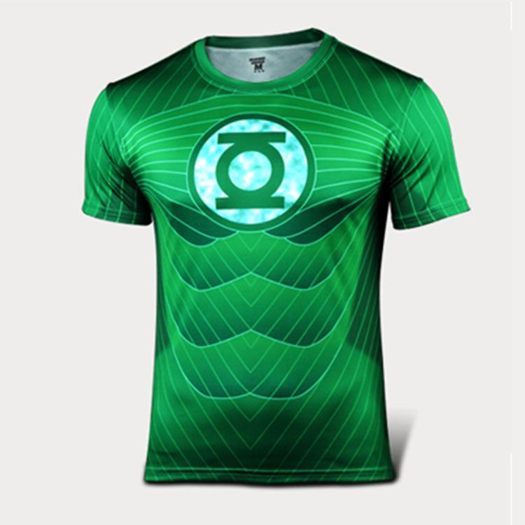 marvel super hero green lantern fitness t shirt men quick. Black Bedroom Furniture Sets. Home Design Ideas