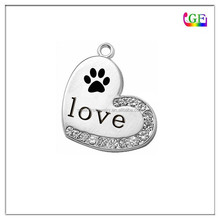 Silver Rose Gold Plated Animal Lover Charm Paw Print Charm
