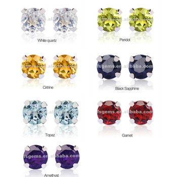 Best Ing Natural Stones Stud Earrings Various Color 925 Sterling Silver