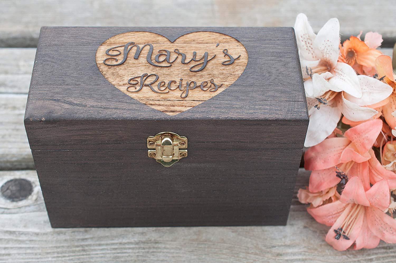 Wedding Gift Recipe Box Heart Recipe Box rustic recipe box Wedding Gift Wood Recipe Box with heart Personalized Recipe Box