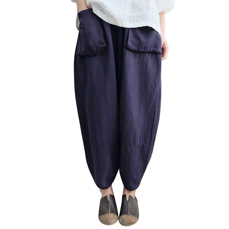 4029a9b2bdcc4 Get Quotations · Kinrui Womens Baggy Oversize Casual Trousers Cotton Linen  Loose Harlan Pants Elastic Waist