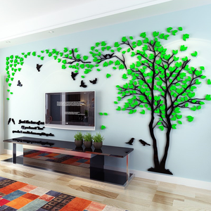 Beautiful and Elegant Countryside Style Tree and Birds Acrylic home decor 3D Wall Sticker