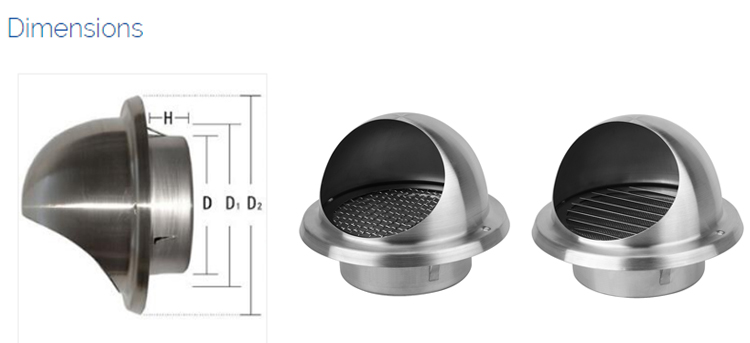 HVAC ventilation stainless steel mushroom air vent Round shape with bird mesh