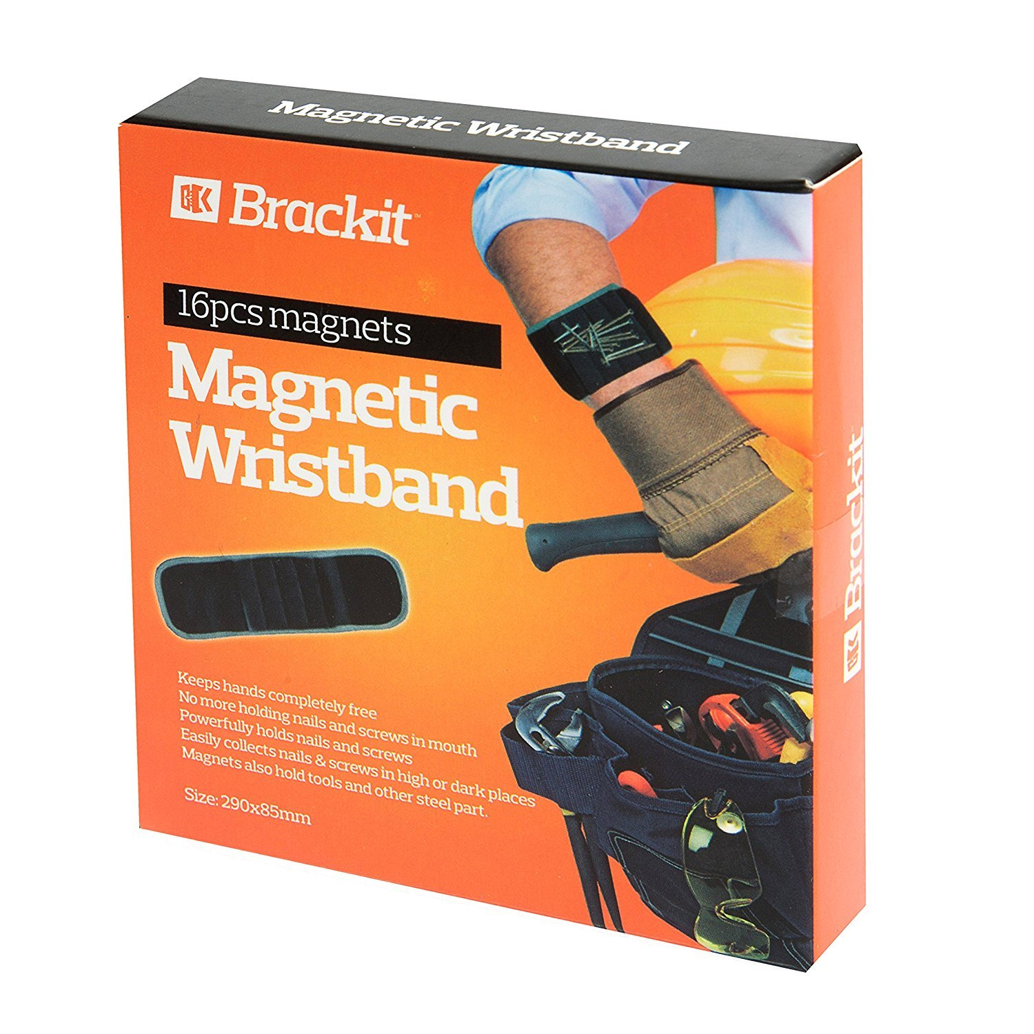 Brackit Magnet Wristband Tool | Adjustable Tool Wrist Bands for Screws, Nails, Nuts, Bolts & More | Premium Magnetic Screw & Nail Wristband for Carpenters, Builders, Roofers, Auto Mechanics (Black)
