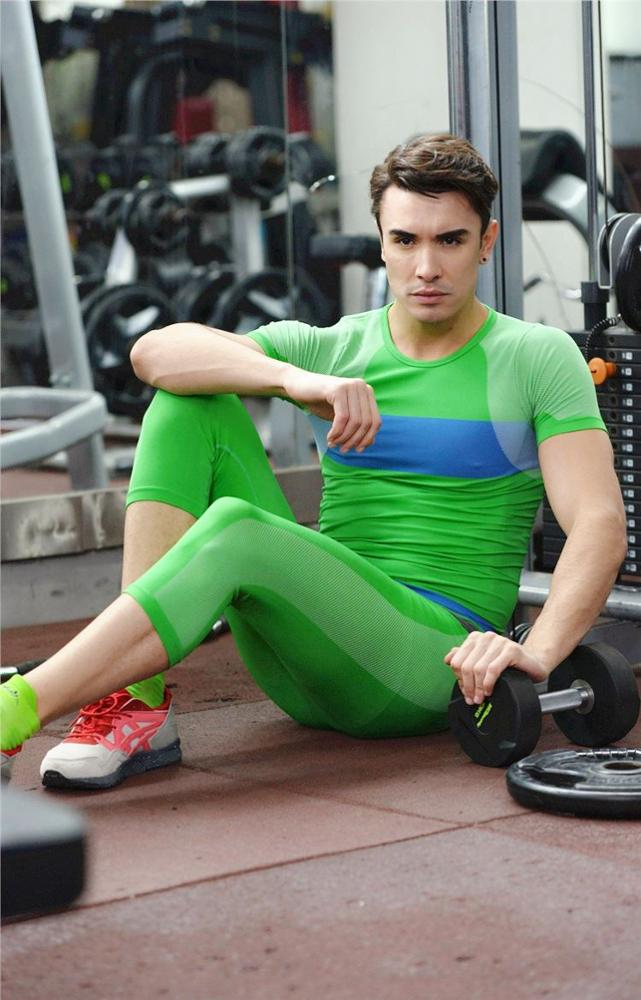Men hit color tight pants body sculpting pants soft breathable comfortable breathable dry MA15