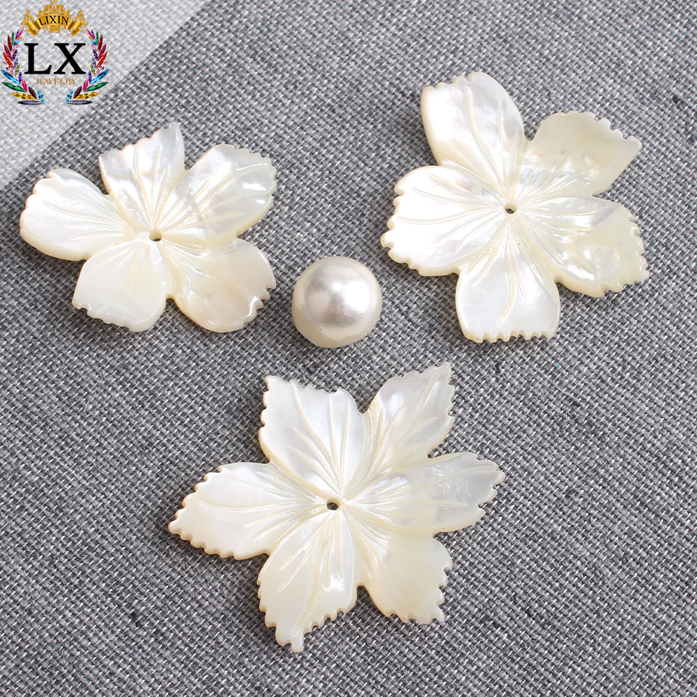 SLX-00005 natural big 35mm loose engraved shell flower beads for jewelry making carved mother of pearl shell in bulk