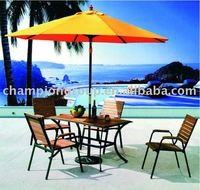 round oak wood dining table and chair with umbrella ---beach furniture