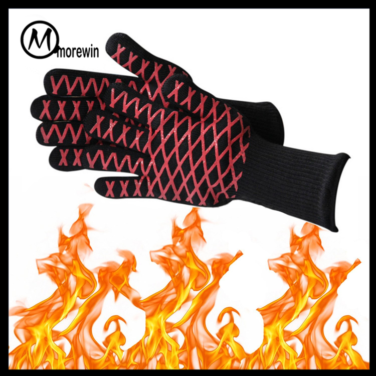 Morewin brand bbq hear resistant grilling cooking gloves knitted mittens with string