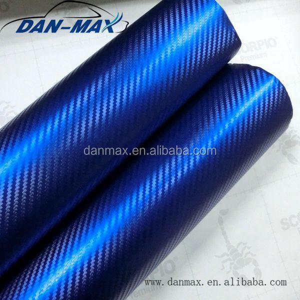 2016 high stretchable dark blue pvc protect wrap chrome pearl 3d imitation carbon fiber vinyl Blue carbon fiber wrap interior