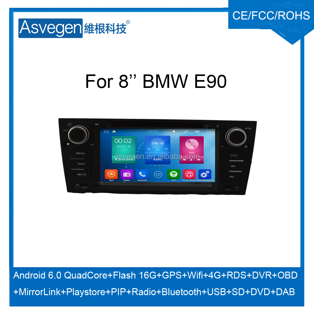 For 8'' BMW E90 car dvd GPS navigation Android 6.0 multimedia player support wifi 4G playstore