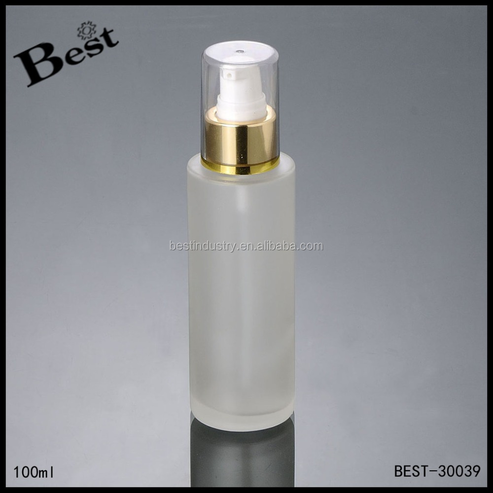 100ml round shape clear cap gold collar lotion pump glass cosmetic serum lotion <strong>bottle</strong>