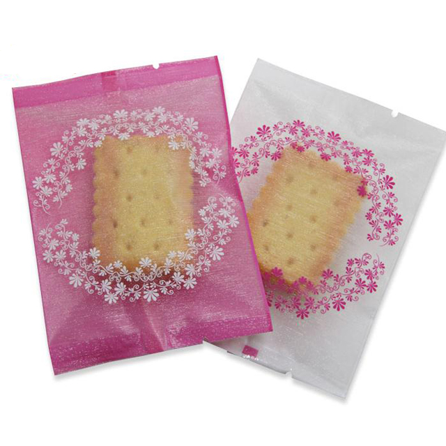 Small pink plastic biscuit tea ornament bag packaging