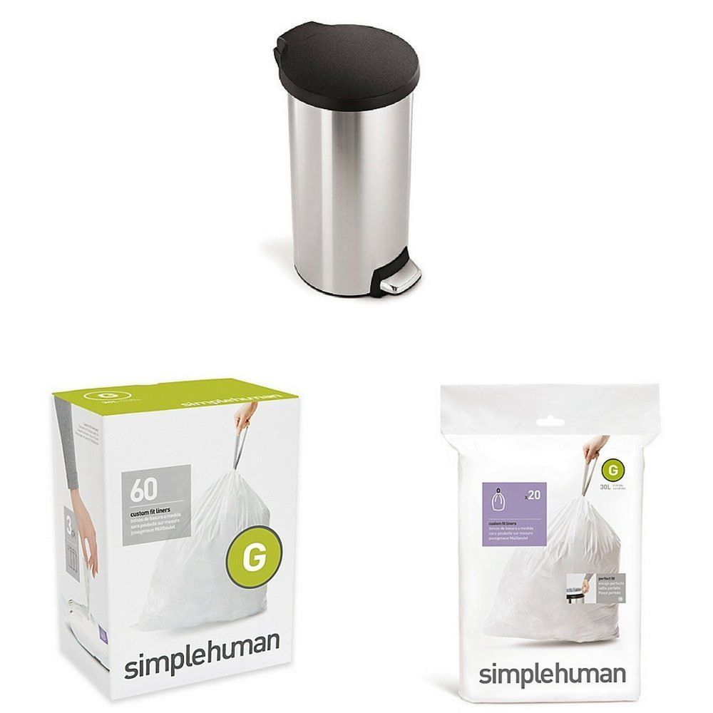 Simplehuman 30 Liter Round Fingerprint Proof Step Can With Code G 60 Pack 8
