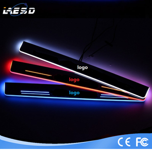 LED Moving Welcome Light Door Sill Scuff Plate For audi Audi BMW VW White Front door by custom logo 2pcs