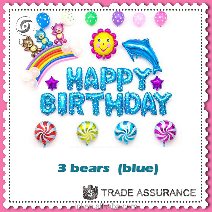 Happy birthday balloon set for child, blue birthday balloon <strong>decoration</strong>