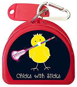 Zumoe Lacrosse Mouth Guard Case Lacrosse Mouth Guard Case Lacrosse Mouth Guard Case Lacrosse Retainer Case or Lacrosse Dental Case called Chicks with Lacrosse Sticks, 50 Designs & 9 Colored Cas
