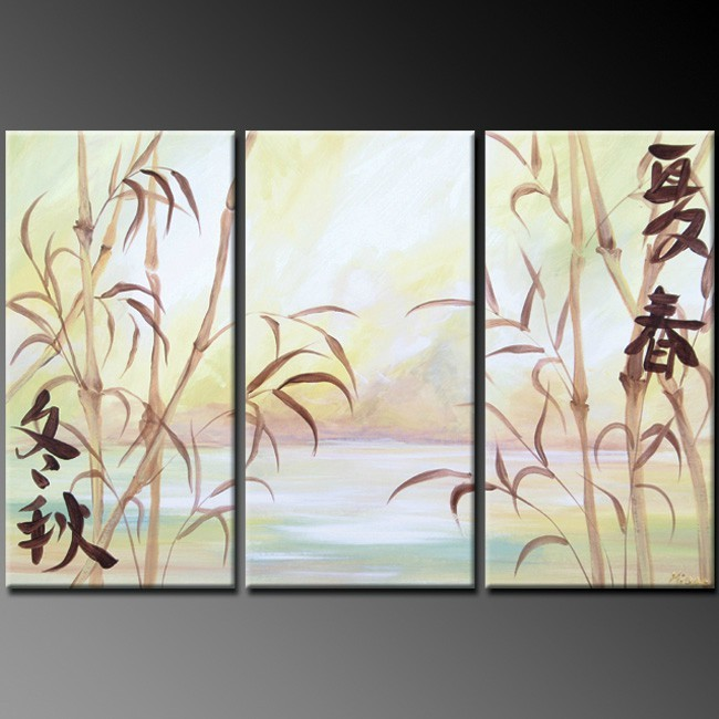 abstract bamboo 3 panel oil paintings on canvas home decoration