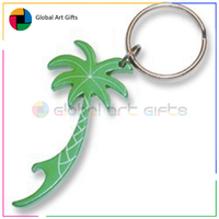 Custom zinc alloy bottle opener spray paint green palm tree keychain