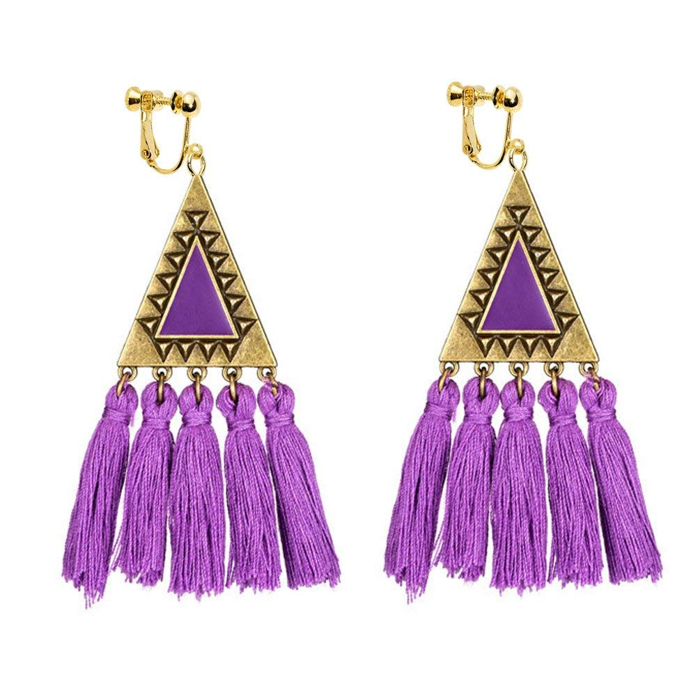 Screw Back Clip on Earring Clip for No Piercing Drop Dangle Teardrop Butterfly Long Tassel for Girl