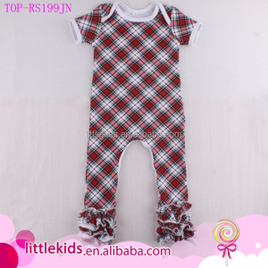 037d661dd3 Infant Baby Girls Boys Remake Plaids Checks Knit Ruffle Icing Romper  Jumpsuit New Born Baby Names