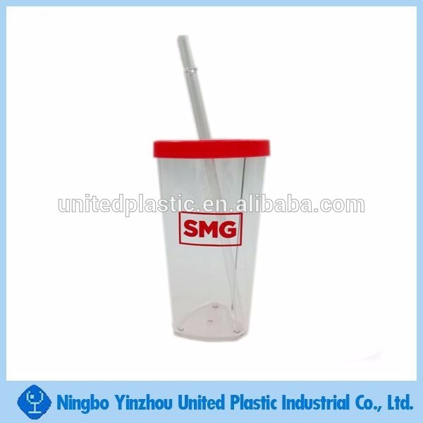 New product United plastic heart shape drinking cup with straw for party
