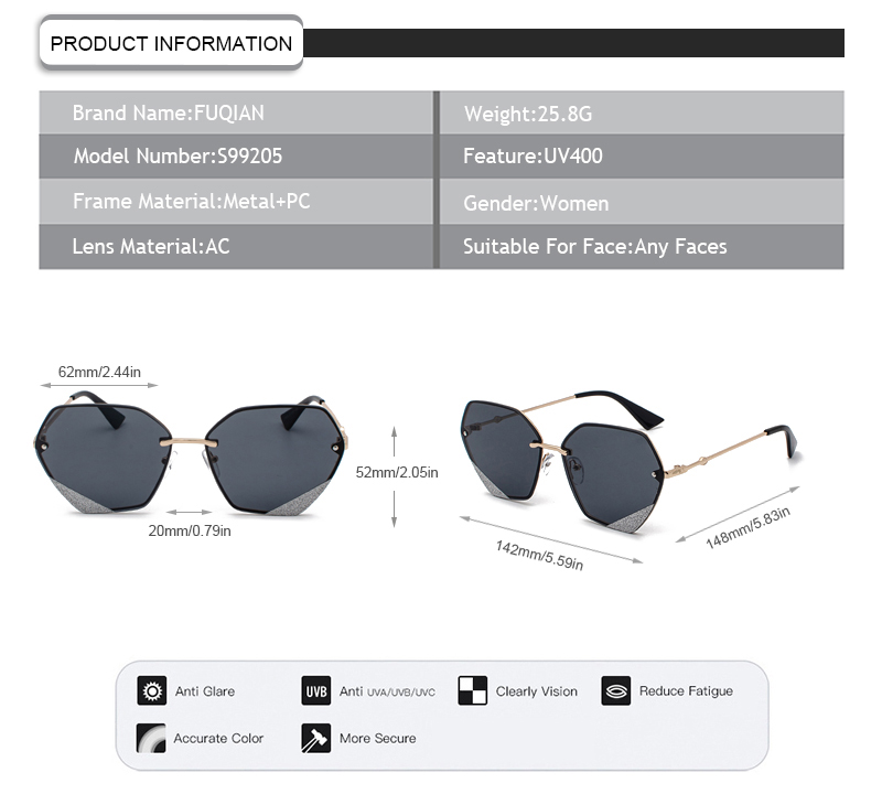 Fuqian Latest large frame womens sunglasses customized for racing-11