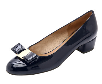 14f1a0f8904 Navy blue Bow Tie low Block heel shoes Soft Style Flat Pumps for women and  ladies
