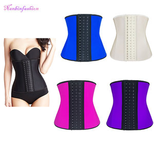 Five colors 9 steel bones 3 layers latex waist trainer shaper corset