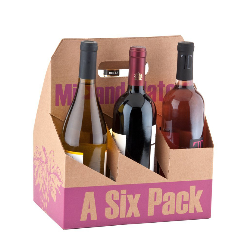 Customized Color Printing Wine Beer Gift Carrier Kraft Paper Boxes