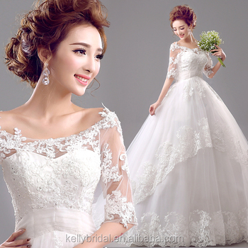d10f2ecf1911 ZM 16101 off-shoulder 3/4 long sleeve big ball gown wedding dresses simple