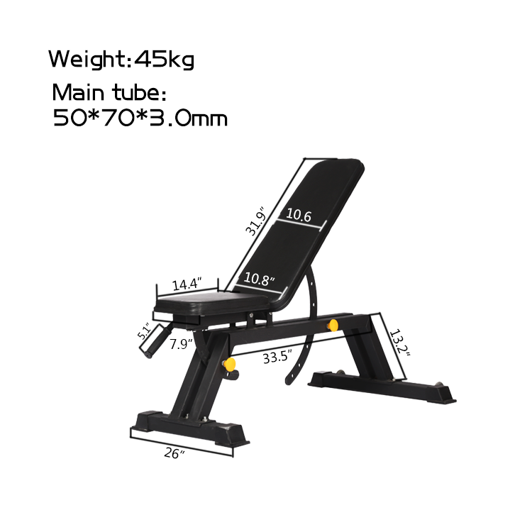 Gym equipment adjustable bench