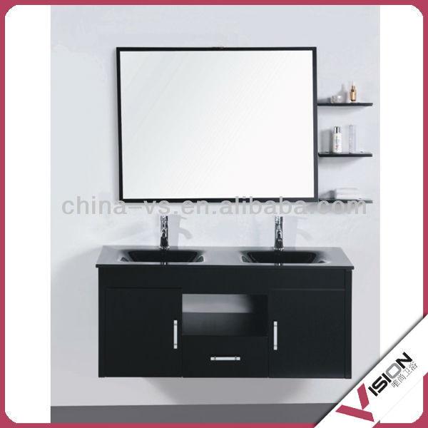 Glass Wash Double Basin With Mirror Shelf Bathroom Vanity