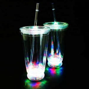 Personalized 16oz acrylic plastic led light up double wall tumbler with lid and straw