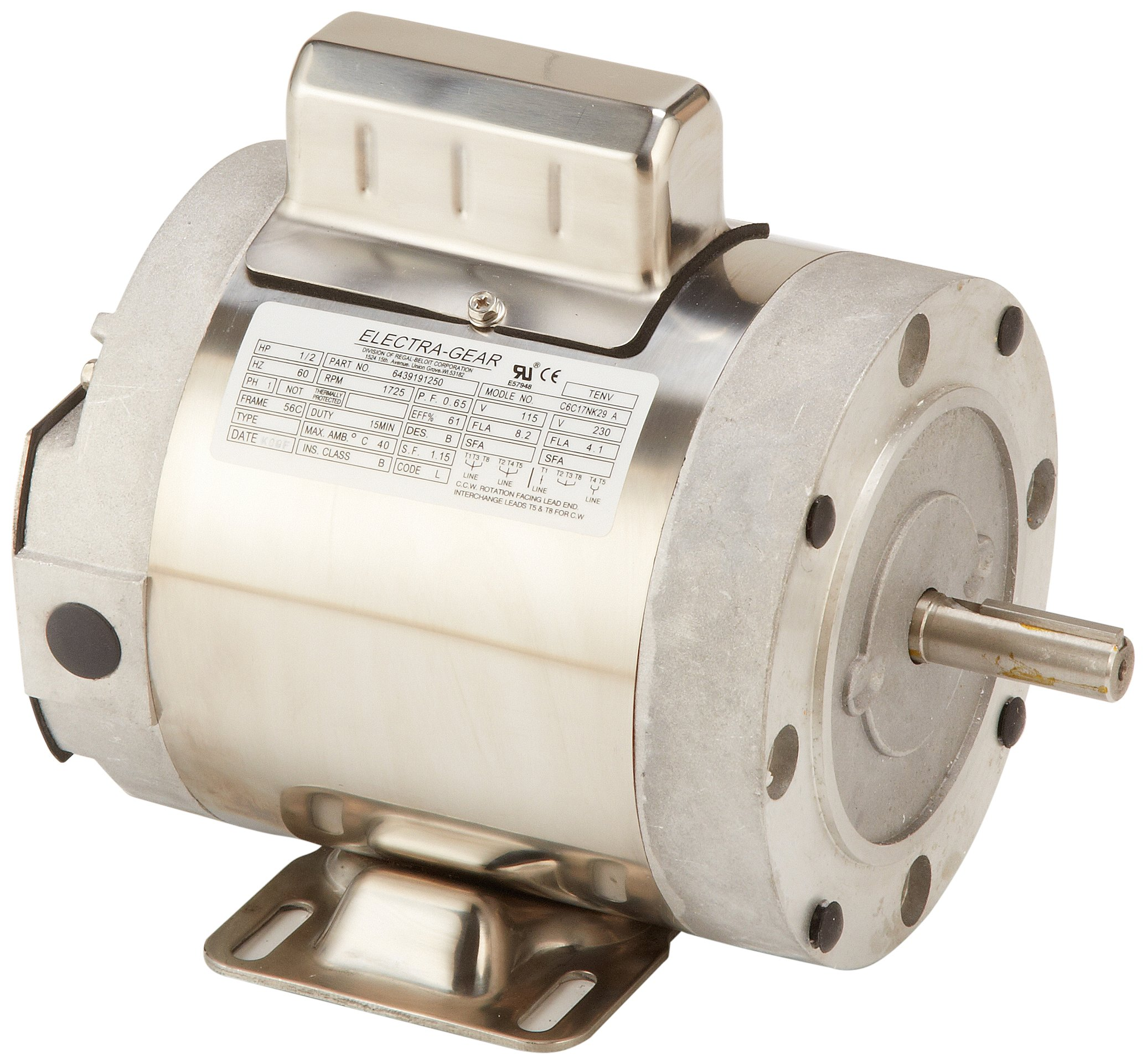 Leeson 6439191250 Boat Hoist Motor, 1 Phase, 56C Frame, Rigid C Mounting, 1/2HP, 1800 RPM, 115/208-230V Voltage, 60Hz Fequency