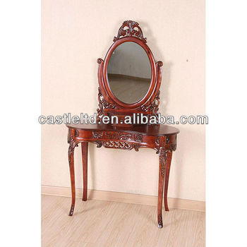 Antique Wooden Hand Carved Desk With Mirror Solid Wood Curving